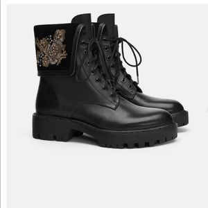 Zara Embroidered Leather Biker Boots